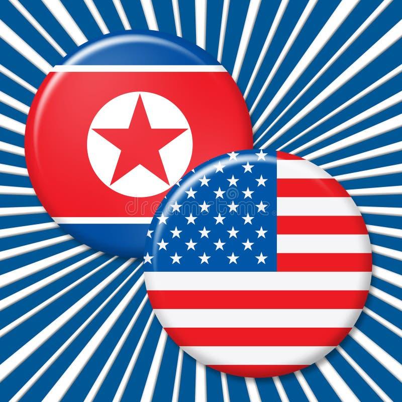 北朝鲜和美国核冲突3d例证 库存例证