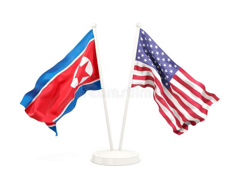 北朝鲜和美国的两面挥动的旗子 库存例证