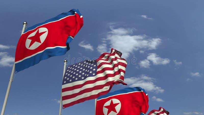 北朝鲜和美国,3D的挥动的旗子翻译 库存图片