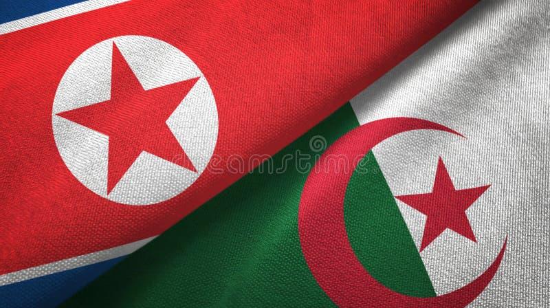 北朝鲜和阿尔及利亚两旗子纺织品布料,织品纹理 皇族释放例证