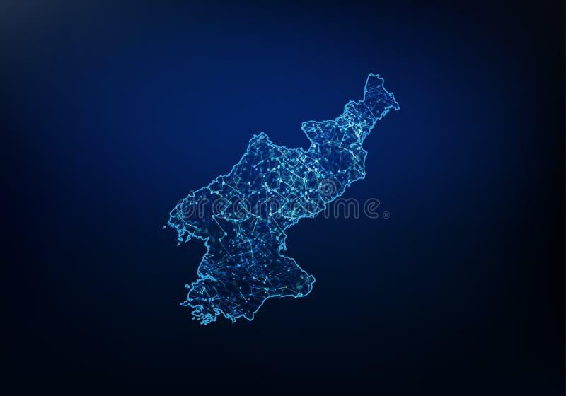 北朝鲜地图网络、互联网和全球性连接概念,导线框架3D滤网多角形网络线,设计摘要  皇族释放例证