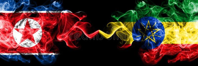 北朝鲜对埃塞俄比亚,肩并肩被安置的埃赛俄比亚的发烟性神秘的旗子 r 皇族释放例证