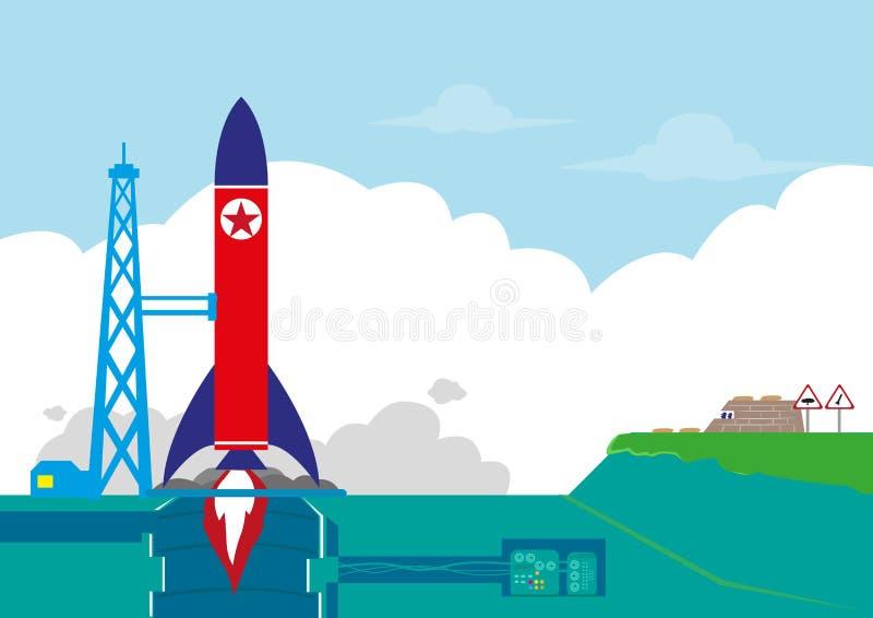 北朝鲜或NoKor测试它的弹道导弹或火箭队轨道卫星概念 编辑可能的剪贴美术 库存例证
