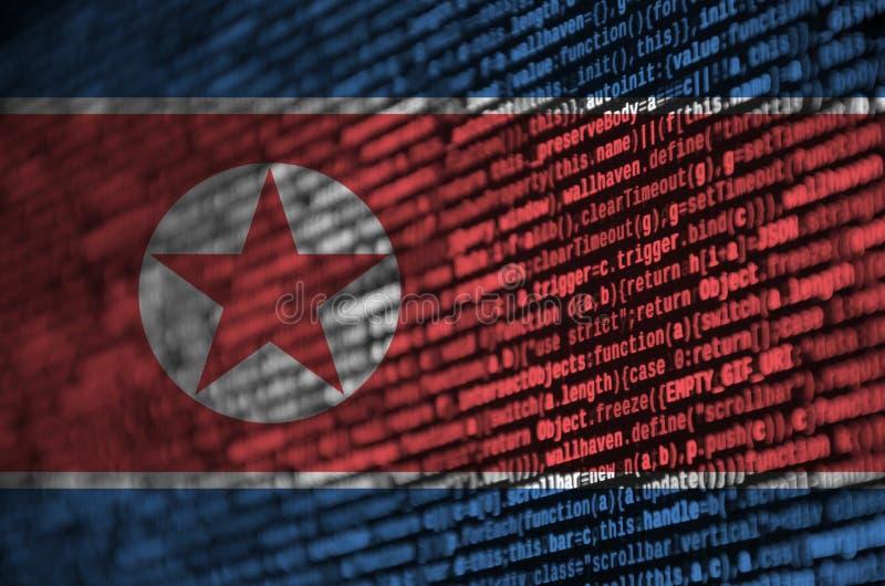 北朝鲜旗子在有节目代码的屏幕上被描述 现代技术和地点发展的概念 向量例证