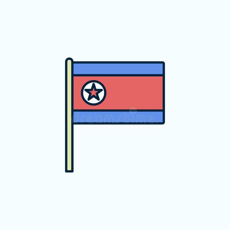 北朝鲜旗子2种族分界线象 简单的色素例证 北朝鲜概述从被设置的旗子的标志设计  向量例证