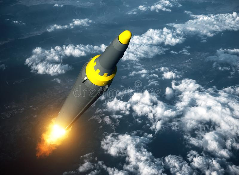 北朝鲜的弹道导弹发射  皇族释放例证
