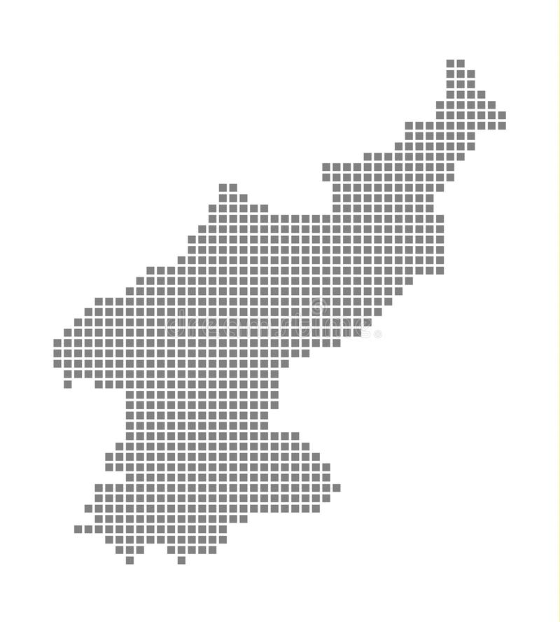 北朝鲜的象素分布图 导航北朝鲜的被加点的地图隔绝了在白色背景 北朝鲜的抽象计算机图表 向量例证