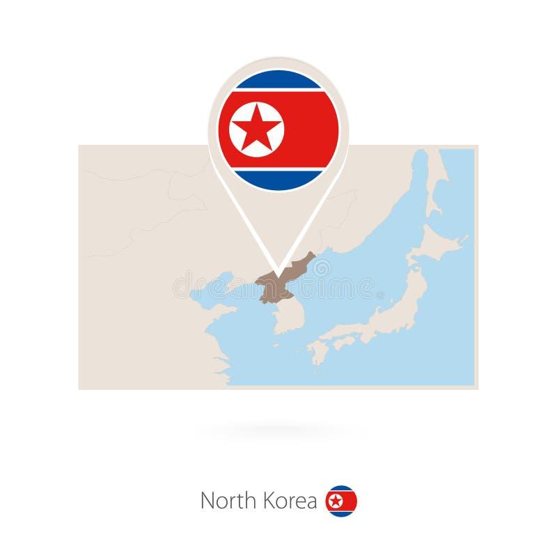 北朝鲜的长方形地图有北朝鲜的别针象的 库存例证