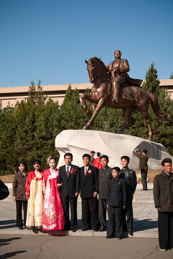 北朝鲜,平壤:2011年10月11日的市中心 KNDR 免版税库存图片