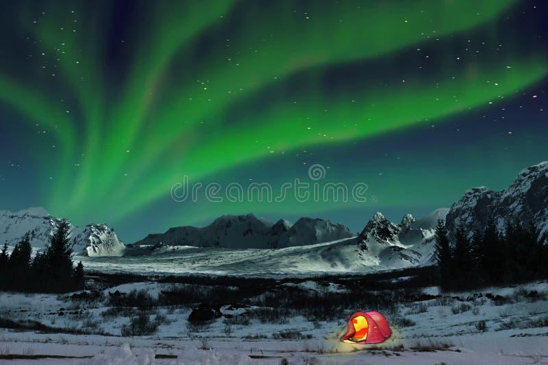 北极光和阵营帐篷,冰岛 图库摄影