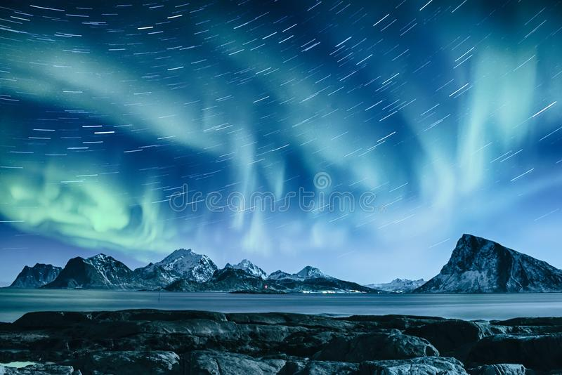 北极光在挪威 免版税库存图片