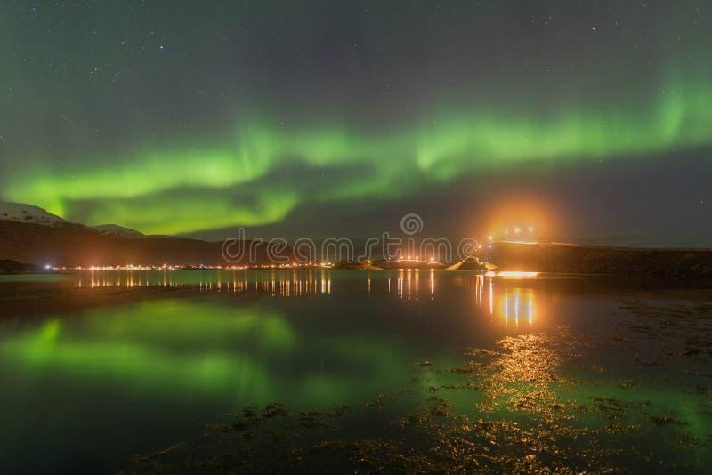 北极光在Lofoten海岛,挪威 绿色极光borealis 与极光的满天星斗的天空 夜冬天风景在夜 库存图片