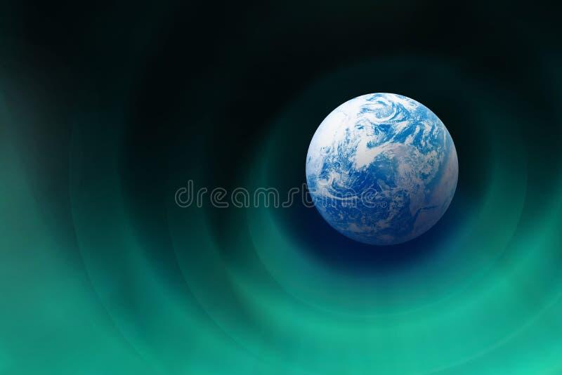 北极光被阐明的作用和美丽的大地 向量例证