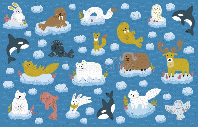 北极动物的汇集漂浮在冰川的 逗人喜爱的幼稚卡通人物 也corel凹道例证向量 库存例证