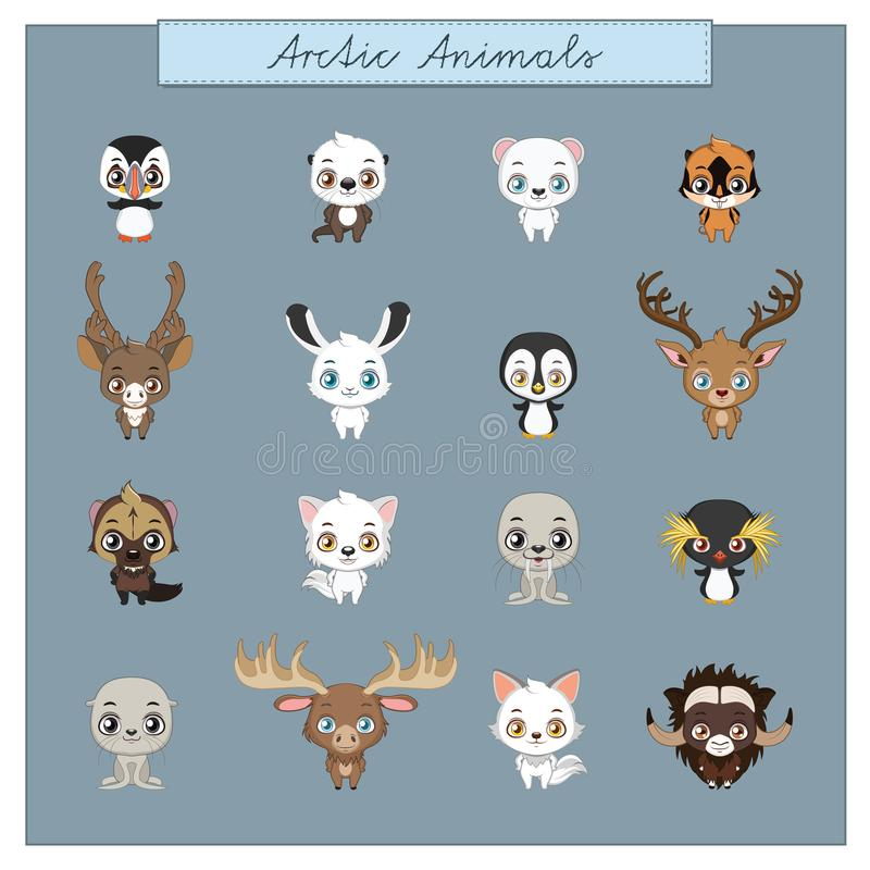 北极动物的汇集 库存例证
