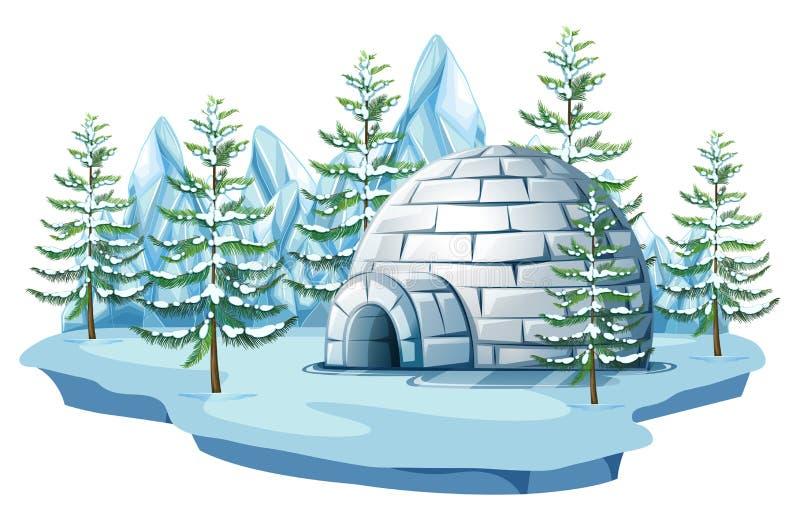 北极土地的园屋顶的小屋 向量例证