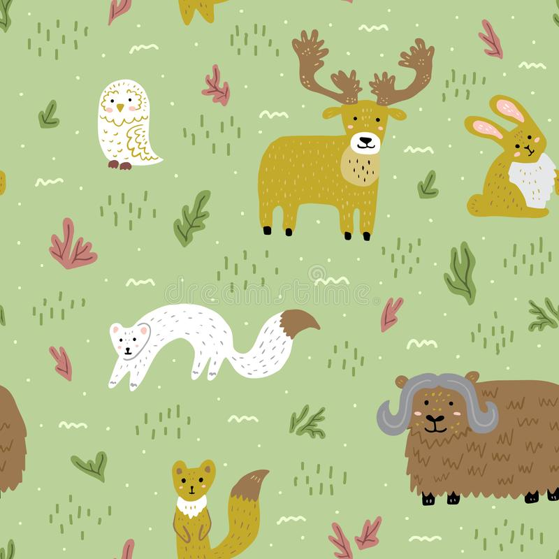 北极夏天自然和动物 逗人喜爱的幼稚字符 模式无缝的向量 织品的,墙纸模板 免版税库存照片