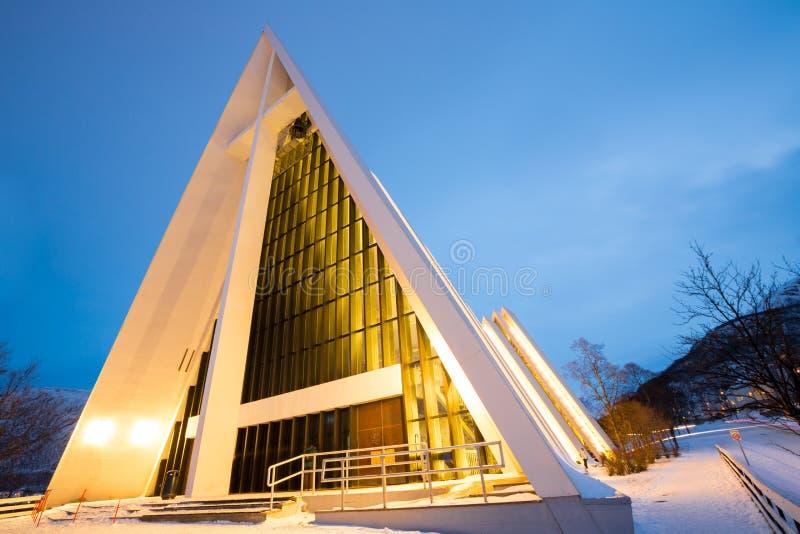 北极大教堂特罗姆瑟挪威 库存照片