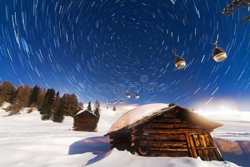 北极星星足迹 库存照片
