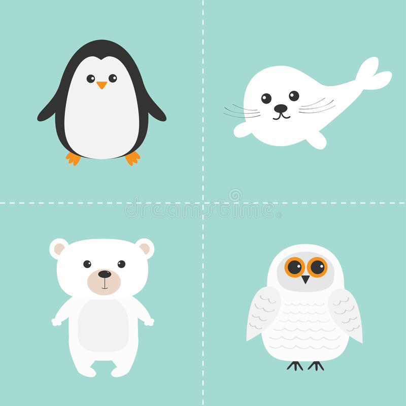 北极极性动物集合 白熊,猫头鹰,企鹅,小海豹婴孩竖琴 哄骗教育卡片 背景看板卡祝贺邀请 查出 皇族释放例证