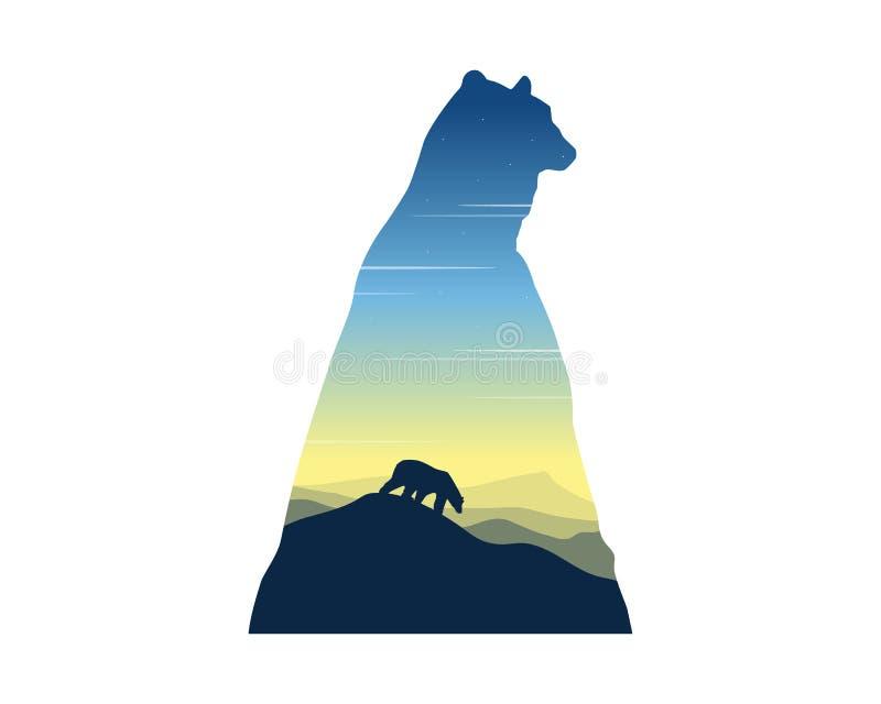 北极熊剪影在日出风景的 皇族释放例证