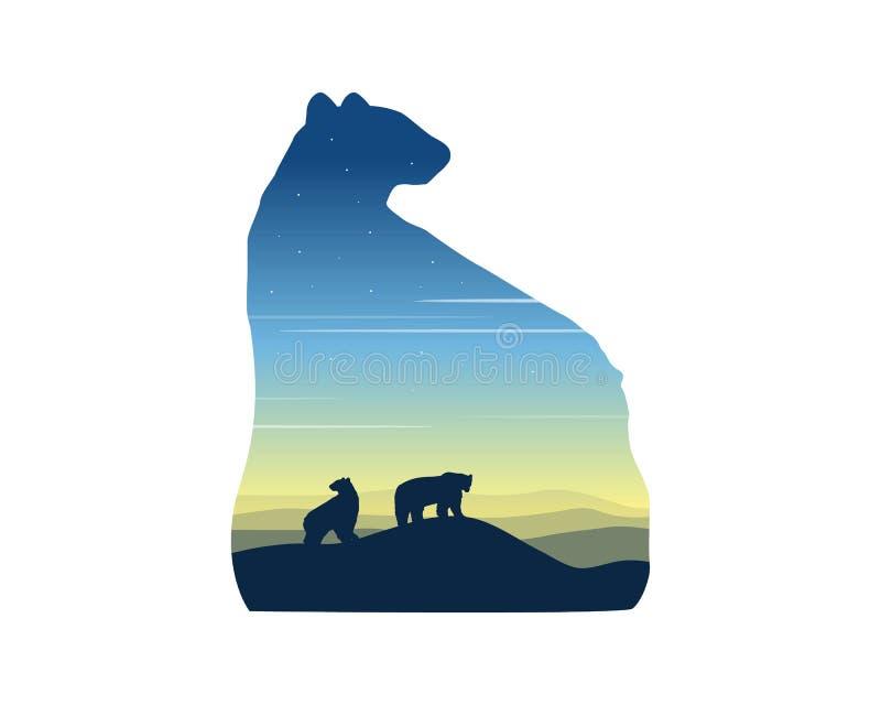 北极熊剪影在日出风景的 库存例证