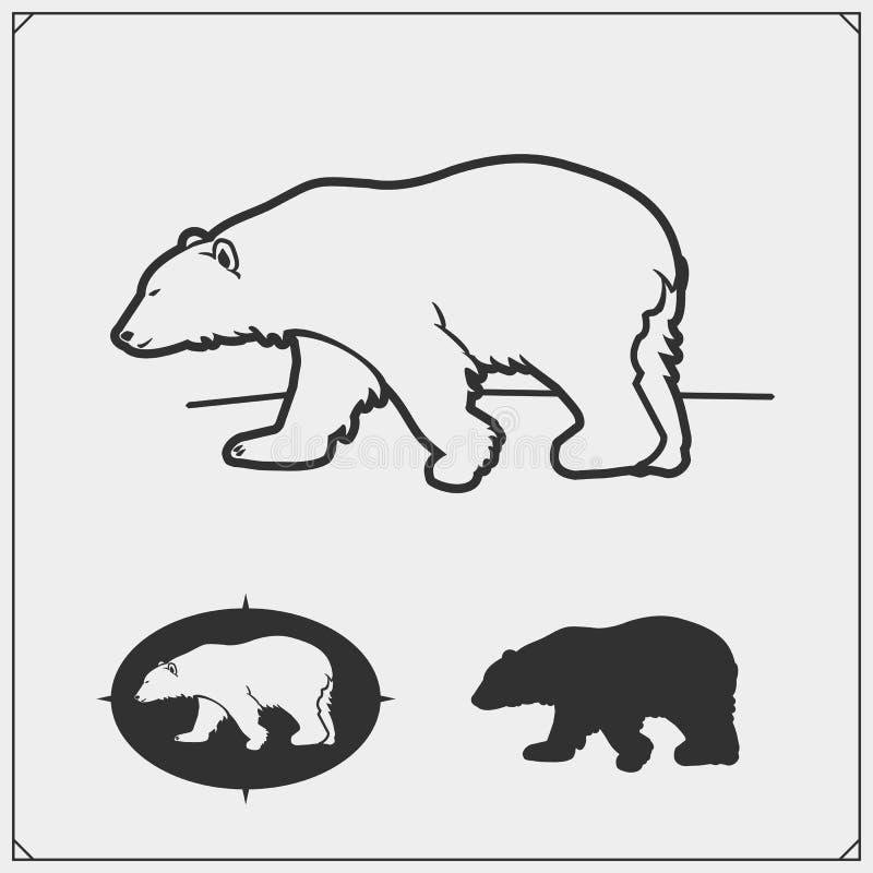 北极熊剪影 r 象征设计模板 库存例证