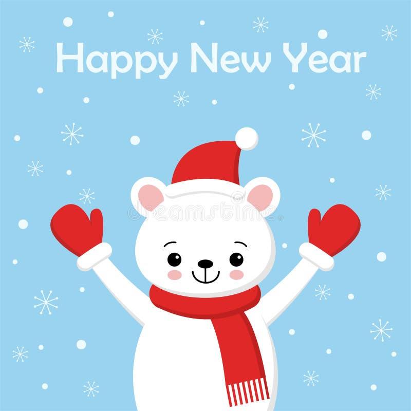 北极熊卡通人物 新年快乐请帖的一个逗人喜爱的北极熊佩带的圣诞老人项目帽子传染媒介例证 库存例证