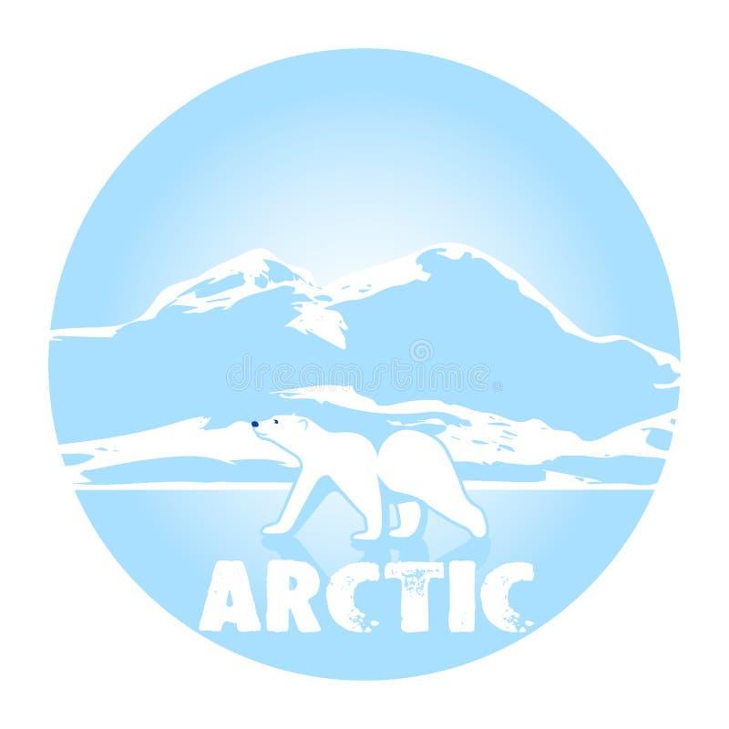 北极熊反对冰北极的标志 向量例证