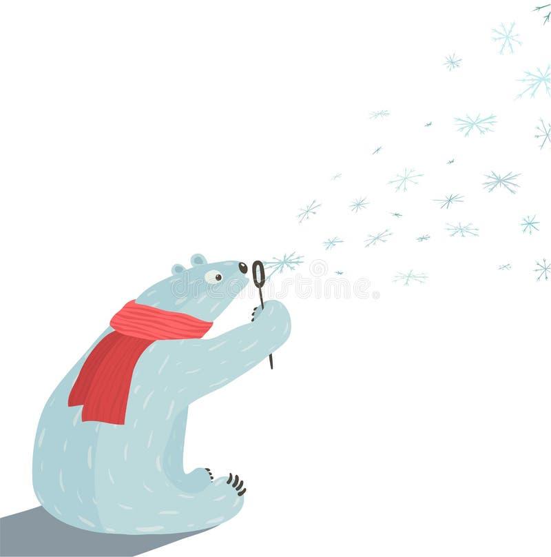 北极熊吹的雪花 皇族释放例证
