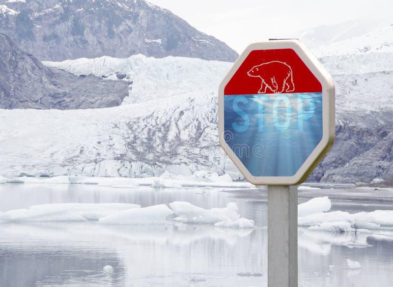 北极熊和气候变化dange 免版税图库摄影