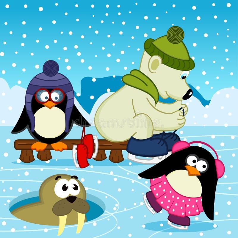 北极熊在溜冰场的海象企鹅 皇族释放例证