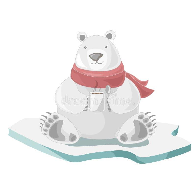 北极熊用咖啡 向量例证