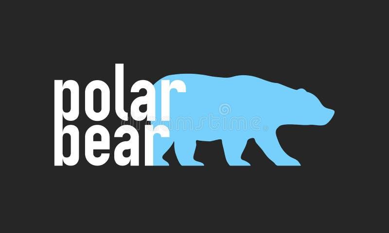 北极熊简单的时髦商标 最小的传染媒介商标 熊剪影 r 向量例证