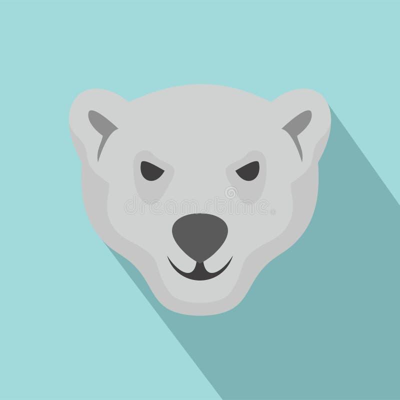 北极熊象,平的样式饥饿的头  向量例证