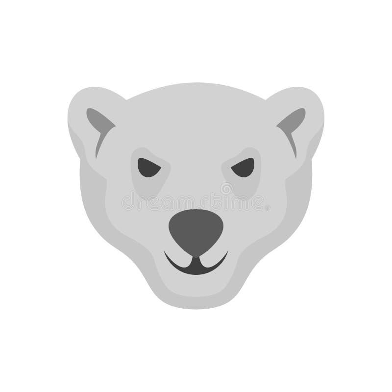 北极熊象,平的样式饥饿的头  库存例证