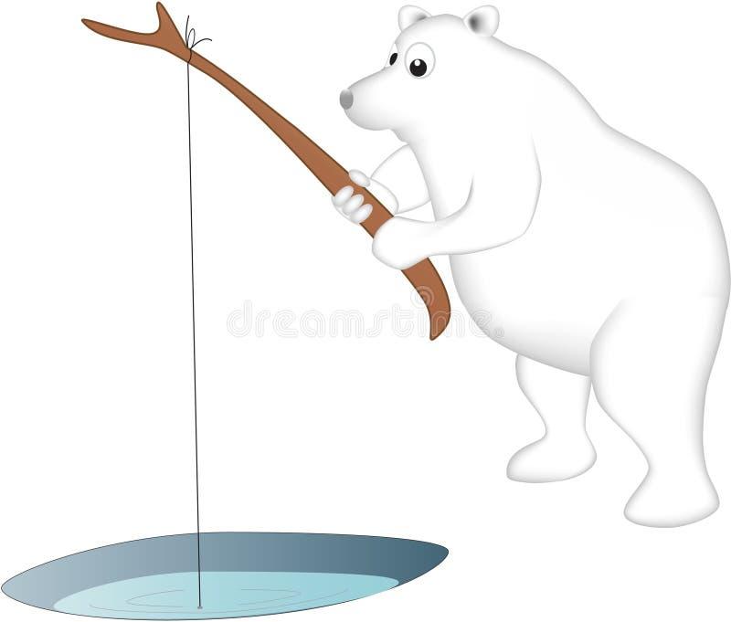 北极熊钓鱼 库存照片