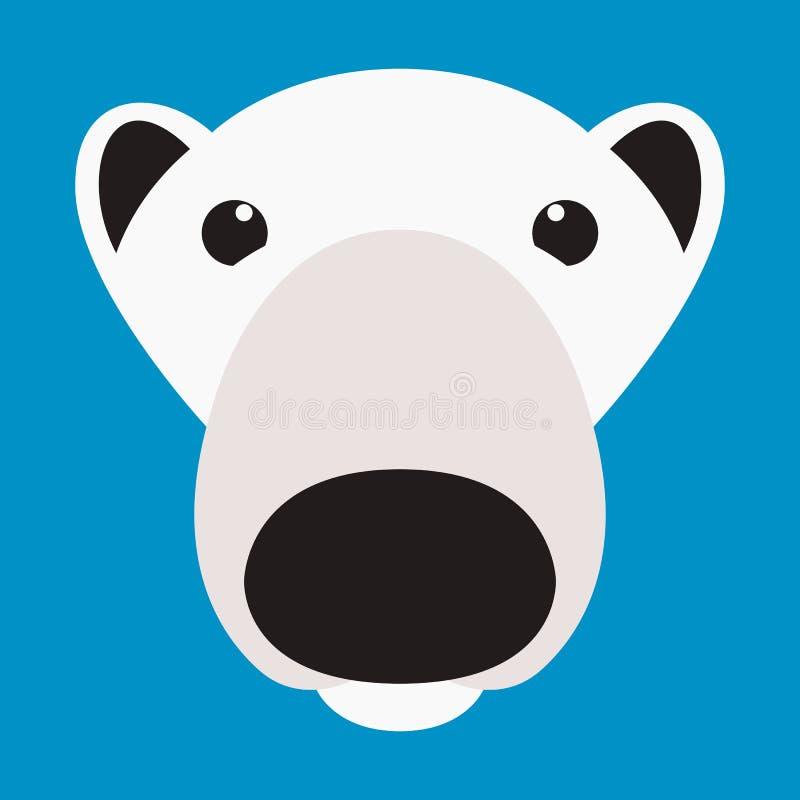 北极熊面孔传染媒介例证平的样式前面 库存例证
