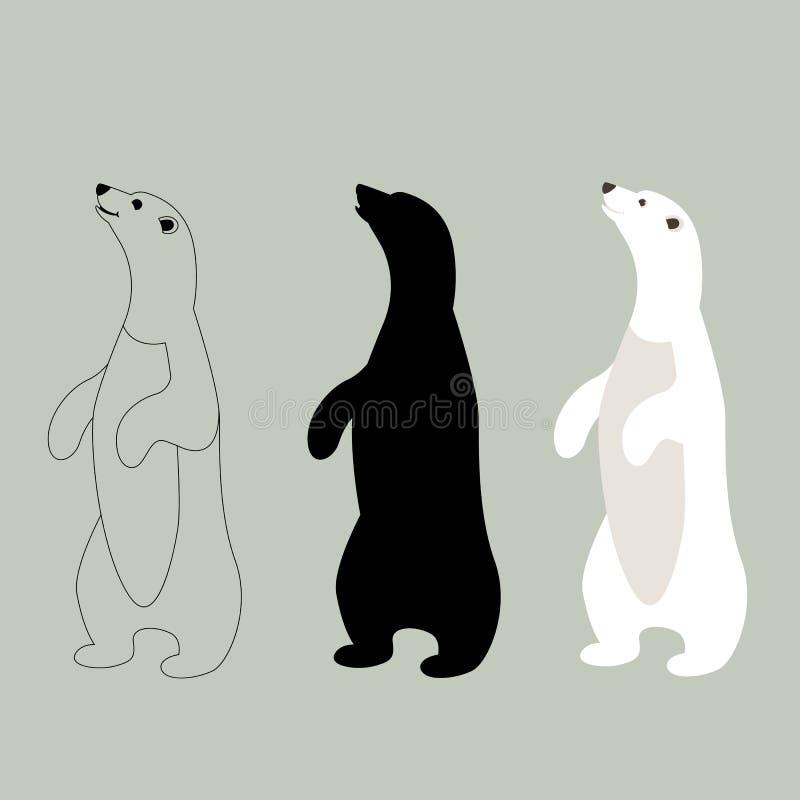 北极熊,传染媒介例证,平的样式,集合 皇族释放例证