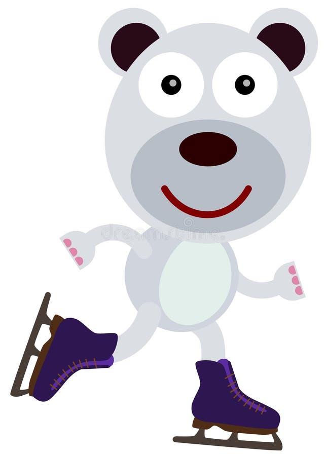 北极熊滑冰 向量例证