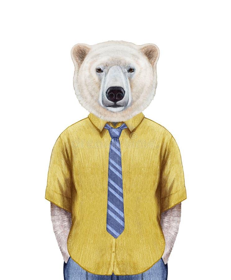 北极熊画象在夏天衬衣的有领带的 向量例证