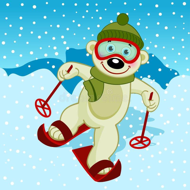 北极熊滑雪者 皇族释放例证