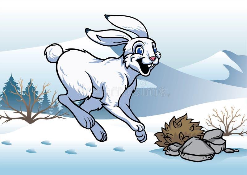北极野兔在冬天 向量例证