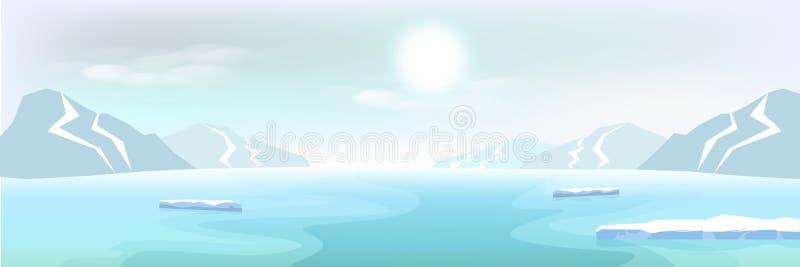 北极风景冰山和山,冬天海报摘要b 皇族释放例证