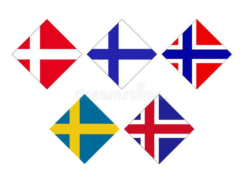 北欧五国旗子-冰岛,芬兰语,丹麦语 挪威和瑞典旗子 皇族释放例证