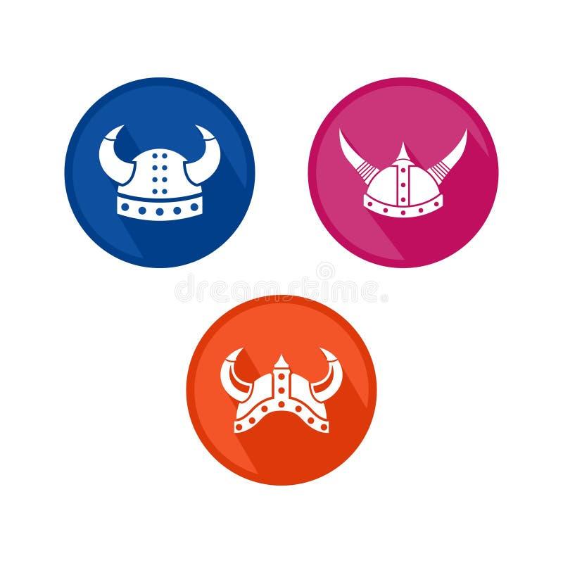北欧海盗与平的颜色的商标模板 库存例证