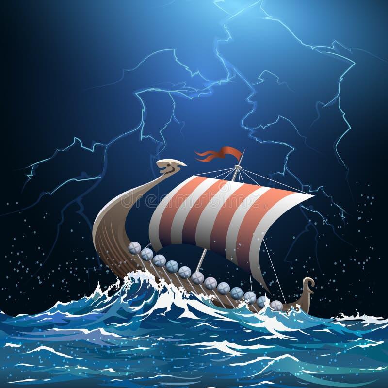 北欧海盗中世纪军舰在风雨如磐的海 向量例证