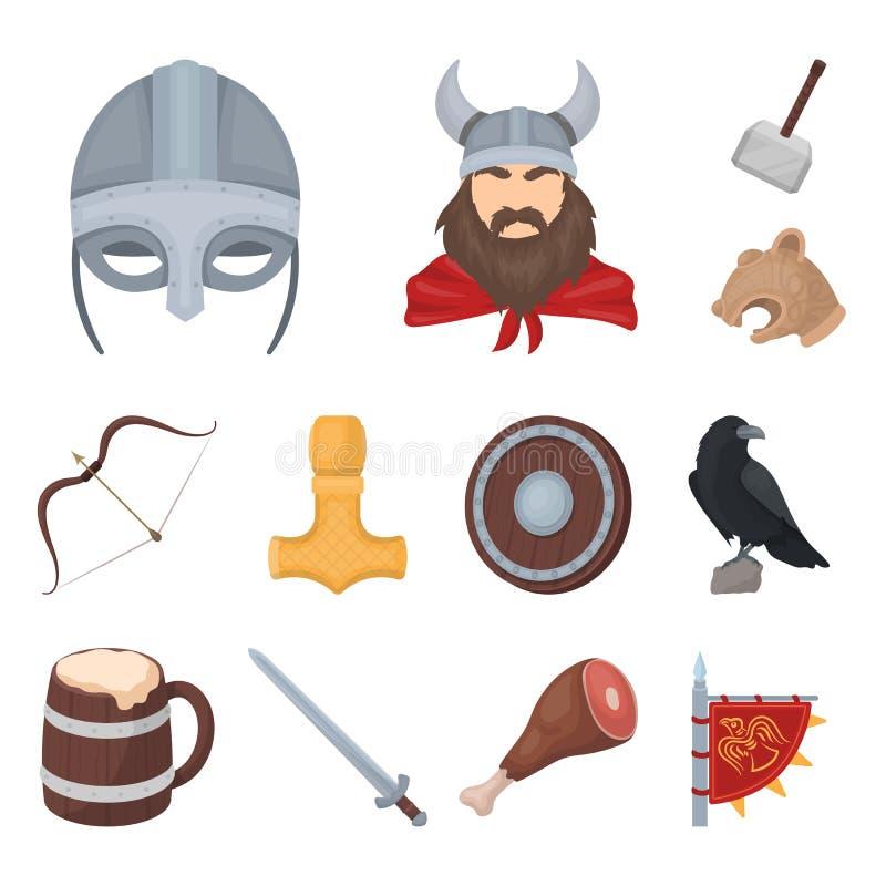 北欧海盗和属性动画片象在集合汇集的设计 老扎线战士传染媒介标志股票网例证 皇族释放例证
