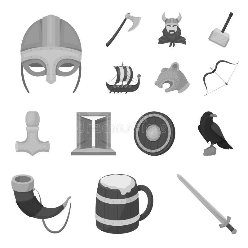 北欧海盗和属性单色象在集合汇集的设计 老扎线战士传染媒介标志股票网 皇族释放例证