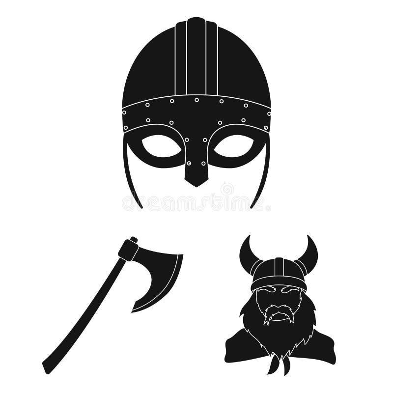 北欧海盗和属性黑象在集合汇集的设计 老扎线战士传染媒介标志股票网例证 库存例证